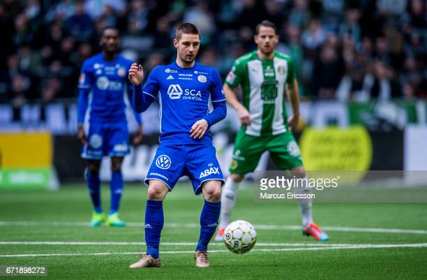 Kristinn Freyr Sigurdsson of GIF Sundsvall during the Allsvenskan match between Hammarby IF and GIF Sundsvall at Tele2 Arena on April 23 2017 in...
