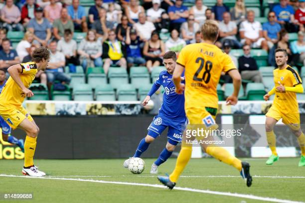 Kristinn Freyr Sigurdsson of GIF Sundsvall in action during the Allsvenskan match between GIF Sundsvall and Halmstad BK at Idrottsparken on July 15...