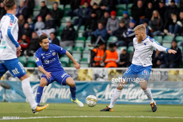 Kristinn Steindorsson of GIF Sundsvall and Filip Dagerstal of IFK Norrkoping during the Allsvenskan match between GIF Sundsvall and IFK Norrkoping at...