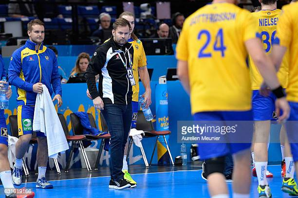 Kristjan Andersson Head Coach of Sweden reacts during the 25th IHF Men's World Championship 2017 match between Sweden and Bahrain at Accorhotels...