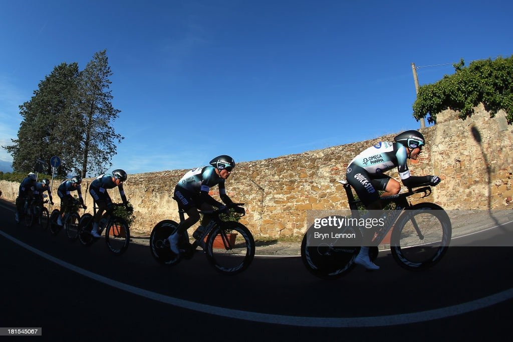 Kristof Vandewalle of Belgium leads the Omega Pharma Quick Step team on their way to winning the Elite Men's Team Time Trial on day one of the UCI Road World Championships on September 22, 2013 in Poggio a Calano, Italy.