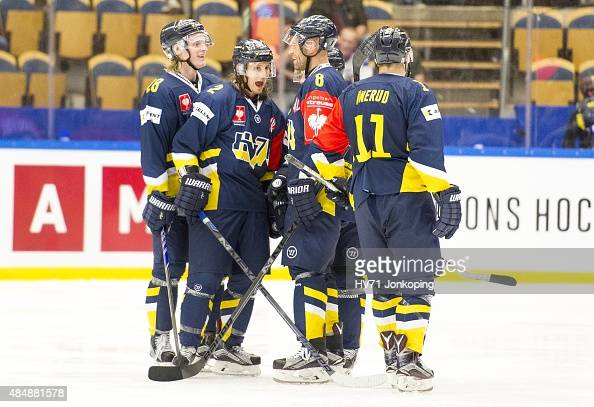 Kristofer Berglund of HV71 goal 11 during the Champions Hockey League group stage game between HV71 Jonkoping and Red Bull Salzburg on August 22 2015...