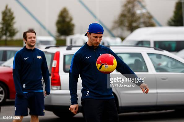 Kristofer Berglund of HV71 warms up with a ball outside the venue before the Champions Hockey League match between HV71 Jonkoping and Red Bull...