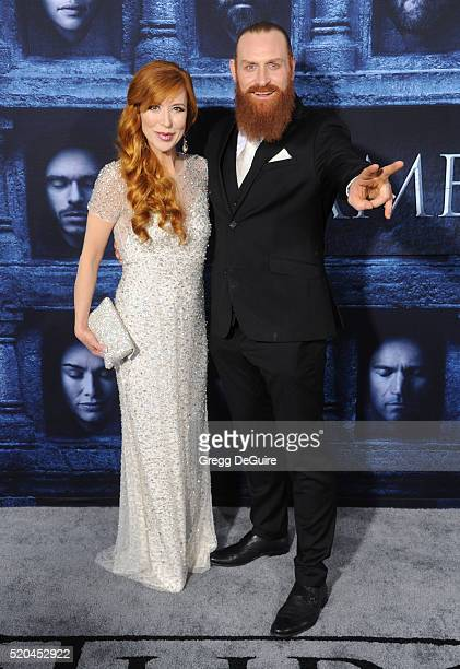 Kristofer Hivju and Gry Molvaer arrive at the premiere of HBO's 'Game Of Thrones' Season 6 at TCL Chinese Theatre on April 10 2016 in Hollywood...