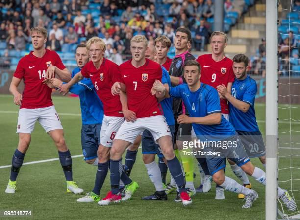 Kristoffer Ajer Morten Thorsby Henrik Bjordal Martin Samuelsen Birk Risa of Norway during the Qualifying Round European Under 21 Championship 2019...