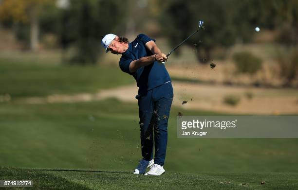 Kristoffer Broberg of Sweden In action during the final round of the European Tour Qualifying School Final Stage at Lumine Golf Club on November 16...