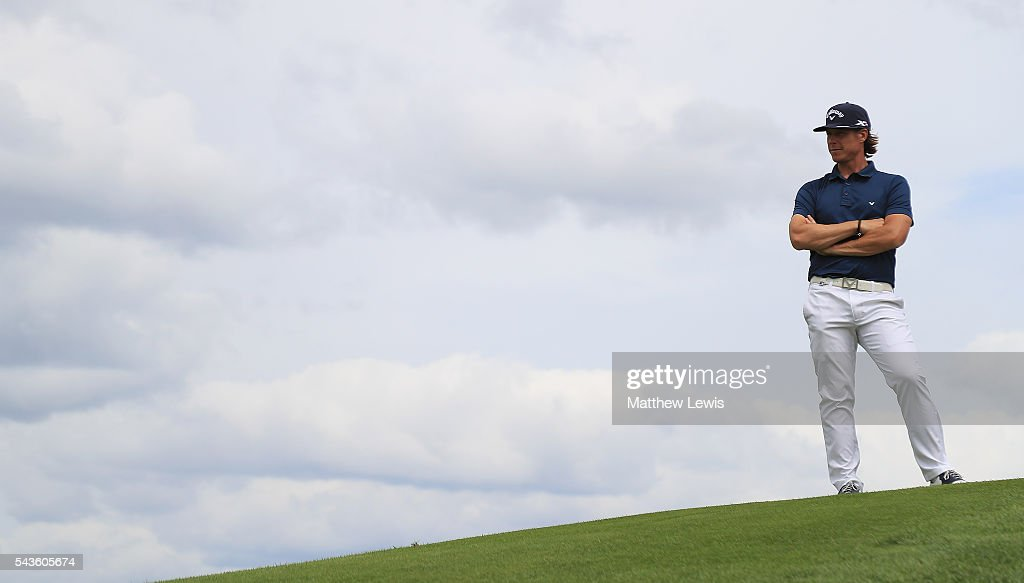 <a gi-track='captionPersonalityLinkClicked' href=/galleries/search?phrase=Kristoffer+Broberg&family=editorial&specificpeople=9197225 ng-click='$event.stopPropagation()'>Kristoffer Broberg</a> of Sweden looks on during a pro-am round ahead of the 100th Open de France at Le Golf National on June 29, 2016 in Paris, France.