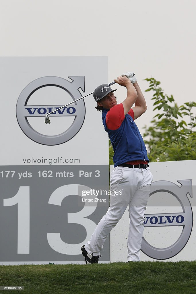 Kristoffer Broberg of Sweden plays a shot during the second round of the Volvo China open at Topwin Golf and Country Club on April 28, 2016 in Beijing, China.