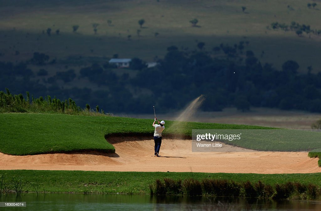 Kristoffer Broberg of Sweden plays out of the 13th fairway bunker during the final round of the Tshwane Open at Copperleaf Golf & Country Estate on March 3, 2013 in Centurion, South Africa.