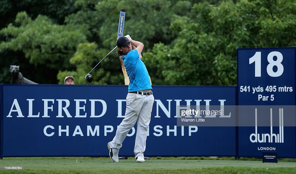 Kristoffer Broberg of Sweden tees off on the 18th hole during the final round of the Alfred Dunhill Championship at Leopard Creek Country Golf Club on December 16, 2012 in Malelane, South Africa.