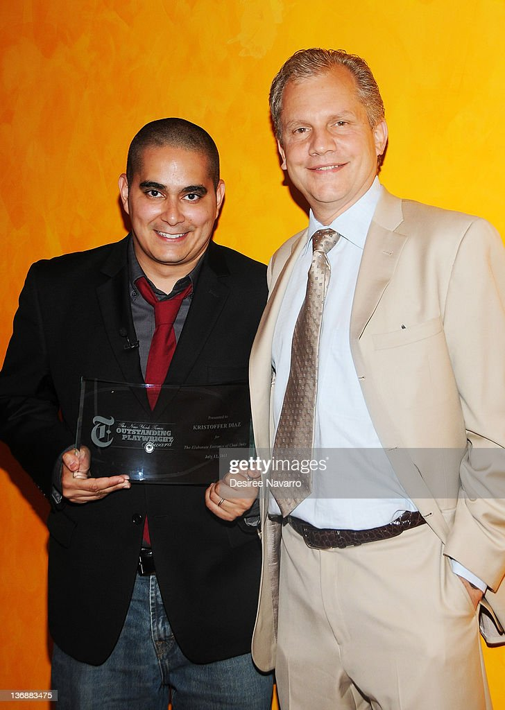 Kristoffer Diaz and Chairman of the New York Times Company Arthur Sulzberger Jr attend the 2011 New York Times Outstanding Playwright Awards at The...