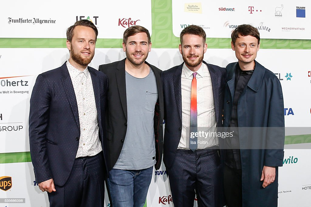 Kristoffer Huenecke, Niels Groetsch, Johannes Strate and Jakob Sinn of the band 'Revolverheld' attend the Green Tec Award at ICM Munich on May 29, 2016 in Munich, Germany.