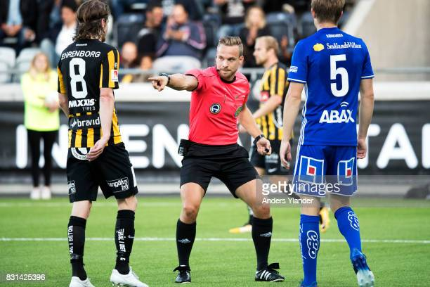 Kristoffer Karlsson the referee in action during the Allsvenskan match between BK Hacken and GIF Sundsvall at Bravida Arena on August 14 2017 in...