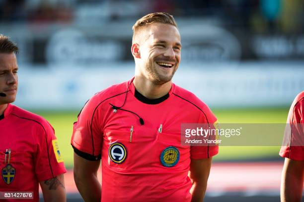 Kristoffer Karlsson the referee prior to the Allsvenskan match between BK Hacken and GIF Sundsvall at Bravida Arena on August 14 2017 in Gothenburg...