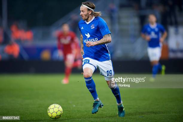 Kristoffer Larsen of Lyngby BK controls the ball during the Danish Alka Superliga match between Lyngby BK and FC Copenhagen at Lyngby Stadion on...