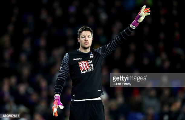 Kristoffer Nordfeldt of Swansea City gestures during the Premier League match between Crystal Palace and Swansea City at Selhurst Park on January 3...