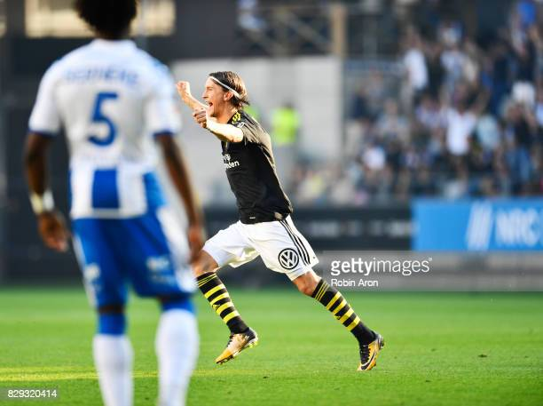 Kristoffer Olsson of AIK celebrates after Amin Affane scores the opening goal to AIK during the Allsvenskan match between IFK Goteborg and AIK at...