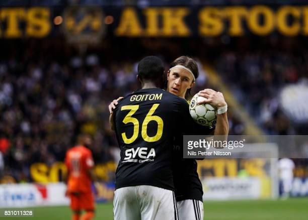 Kristoffer Olsson of AIK celebrates after scoring to 11 during the Allsvenskan match between AIK and Athletic FC Eskilstura at Friends arena on...
