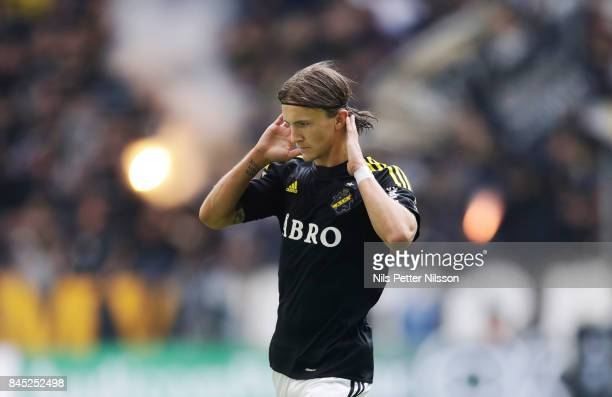 Kristoffer Olsson of AIK celebrates after scoring to 11 during the Allsvenskan match between Hammarby IF and AIK at Tele2 Arena on September 10 2017...