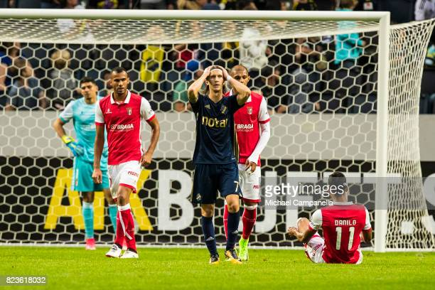 Kristoffer Olsson of AIK dejected after a missed chance on goal during a UEFA Europa League qualification match between AIK and SC Braga at Friends...