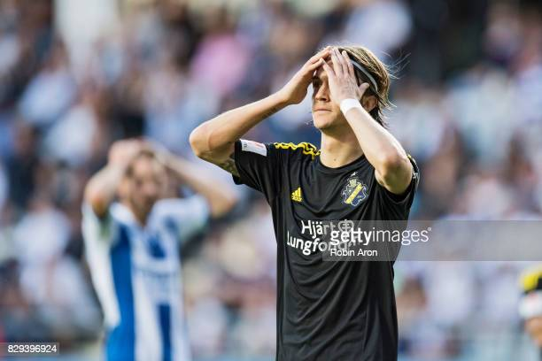 Kristoffer Olsson of AIK dejected during the Allsvenskan match between IFK Goteborg and AIK at Gamla Ullevi on August 10 2017 in Gothenburg Sweden