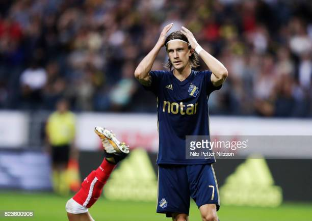 Kristoffer Olsson of AIK dejected during the UEFA Europa League Qualifying match between AIK and SC Braga at Friends arena on July 27 2017 in Solna...