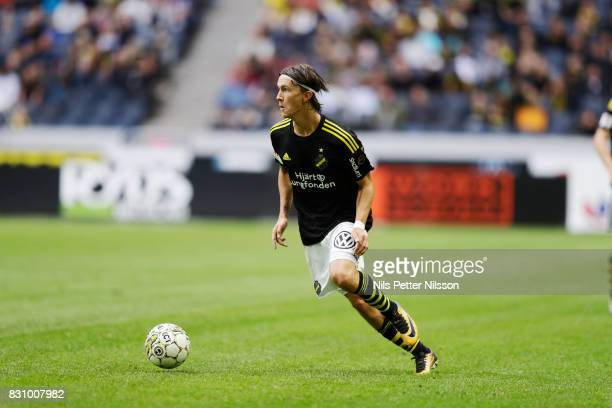 Kristoffer Olsson of AIK during the Allsvenskan match between AIK and Athletic FC Eskilstura at Friends arena on August 13 2017 in Solna Sweden