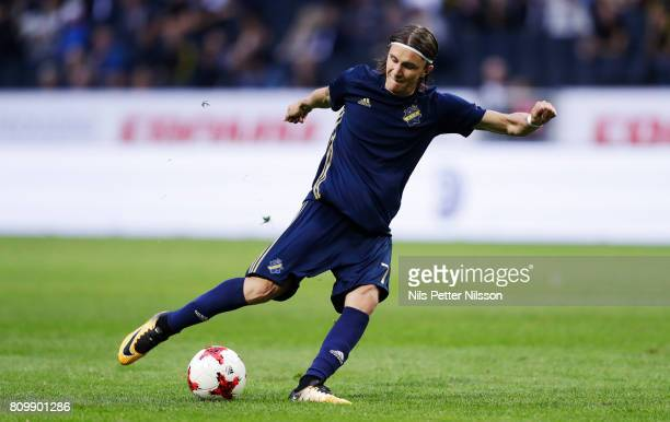Kristoffer Olsson of AIK during the UEFA Europa League Qualifying match between AIK and KI Klaksvik at Friends arena on July 6 2017 in Solna Sweden