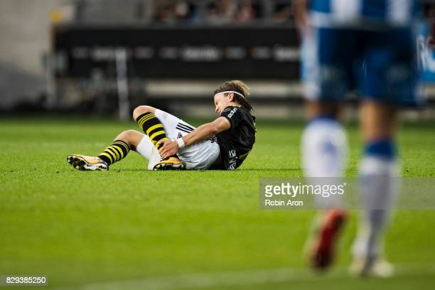Kristoffer Olsson of AIK in pain dejected during the Allsvenskan match between IFK Goteborg and AIK at Gamla Ullevi on August 10 2017 in Gothenburg...
