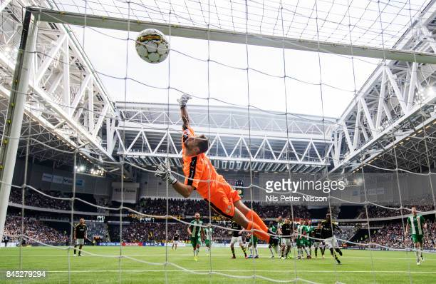 Kristoffer Olsson of AIK scores to 11 during the Allsvenskan match between Hammarby IF and AIK at Tele2 Arena on September 10 2017 in Stockholm Sweden