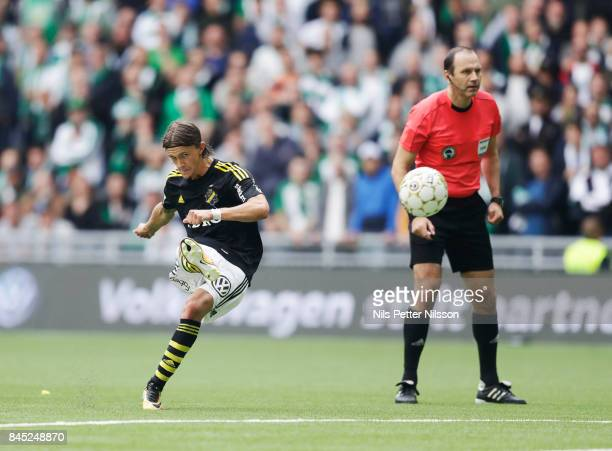 Kristoffer Olsson of AIK scores to 11 on a free kick during the Allsvenskan match between Hammarby IF and AIK at Tele2 Arena on September 10 2017 in...