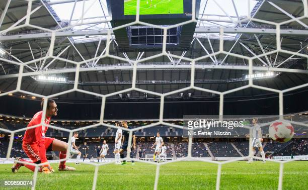 Kristoffer Olsson of AIK scores to 30 during the UEFA Europa League Qualifying match between AIK and KI Klaksvik at Friends arena on July 6 2017 in...