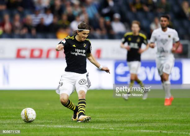 Kristoffer Olsson of AIK shoots during the Allsvenskan match between AIK and Ostersunds FK at Friends arena on July 2 2017 in Solna Sweden