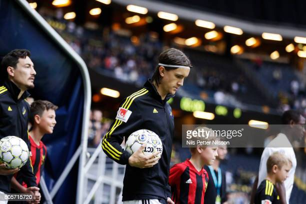 Kristoffer Olsson of AIK walks on the pitch prior to the Allsvenskan match between AIK and Ostersunds FK at Friends arena on July 2 2017 in Solna...