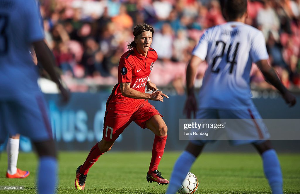 Kristoffer Olsson of FC Midtjylland in action during the Europa League Qualifier match between FC Midtjylland and FK Suduva at MCH Arena on June 30, 2016 in Herning, Denmark.