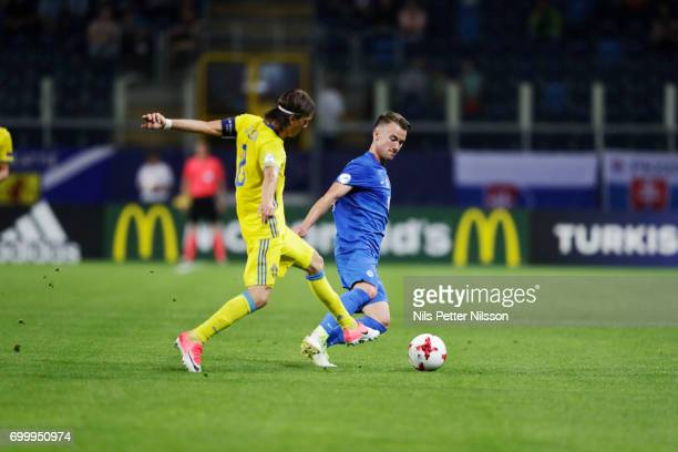 Kristoffer Olsson of Sweden and Albert Rusnák of Slovakia during the UEFA European Under21 match between Slovakia and Sweden at Arena Lublin on June...
