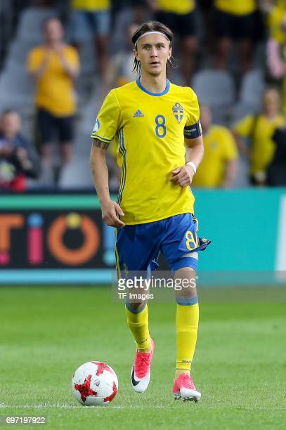 Kristoffer Olsson of Sweden in action during the UEFA European Under21 Championship match between Sweden and England at Arena Kielce on June 16 2017...
