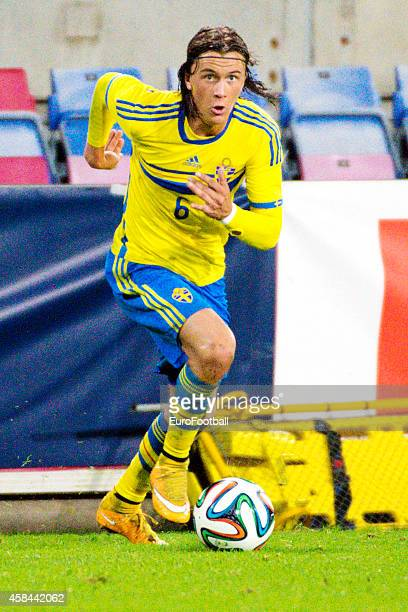 Kristoffer Olsson of Sweden in action during the UEFA Under21 Championship qualifying match between Sweden and France in Orjans Vall Stadium on...