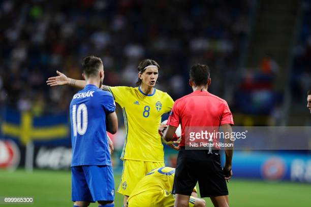 Kristoffer Olsson of Sweden in discussion with referee Jesús Gil Manzano during the UEFA European Under21 match between Slovakia and Sweden at Arena...