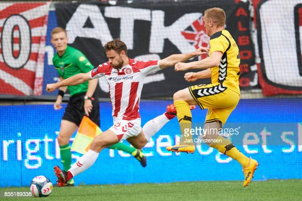 Kristoffer Pallesen of AaB Aalborg compete for the ball during the Danish Alka Superliga match between AC Horsens and AaB Aalborg at Casa Arena...