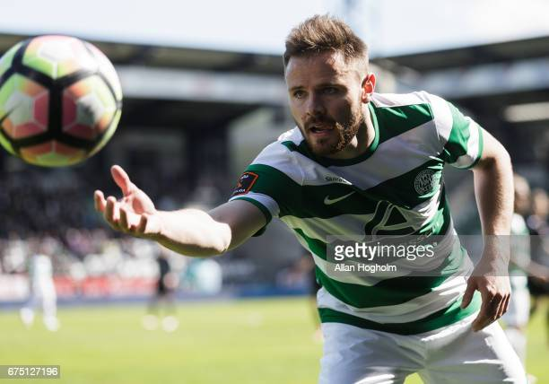 Kristoffer Pallesen of Viborg FF controls the ball during the Danish Alka Superliga match between Viborg FF and AaB Aalborg at Energi Viborg Arena on...