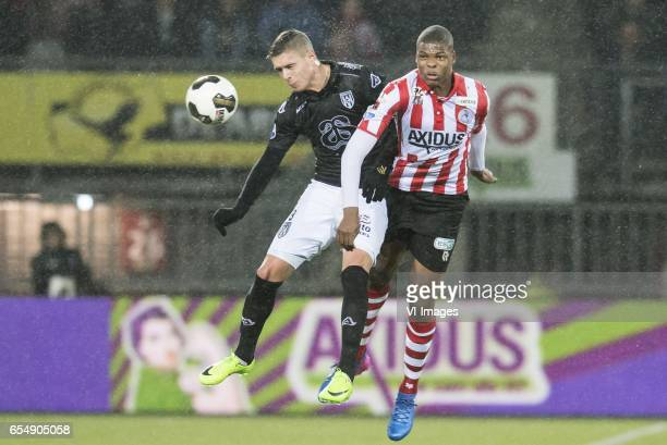 Kristoffer Peterson of Heracles Almelo Denzel Dumfries of Sparta Rotterdamduring the Dutch Eredivisie match between Sparta Rotterdam and Heracles...