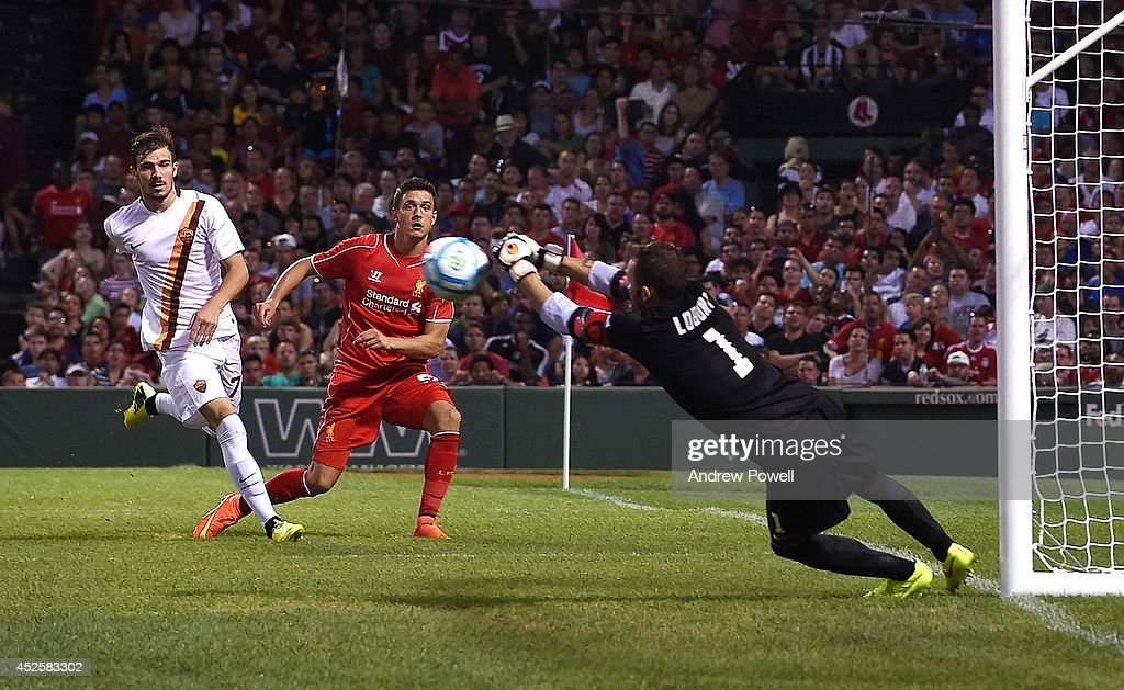 Kristoffer Peterson of Liverpool comes close during the pre-season friendly match between Liverpool FC and AS Roma at Fenway Park on July 23, 2014 in Boston, Massachusetts.