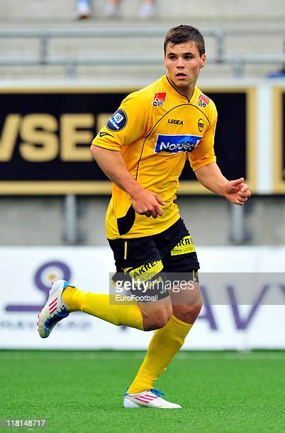 Kristoffer Tokstad of Lillestrom SK in action during the Norwegian Tippeligaen match between Aalesunds FK and Lillestrom SK held on June 25 2011 at...