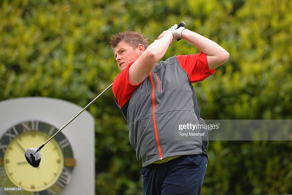 Kristopher Bielecki plays his first shot on the 1st tee during the PGA Assistants Championships - Midlands Qualifier at the Coventry Golf Club on May 26, 2016 in Coventry, England.