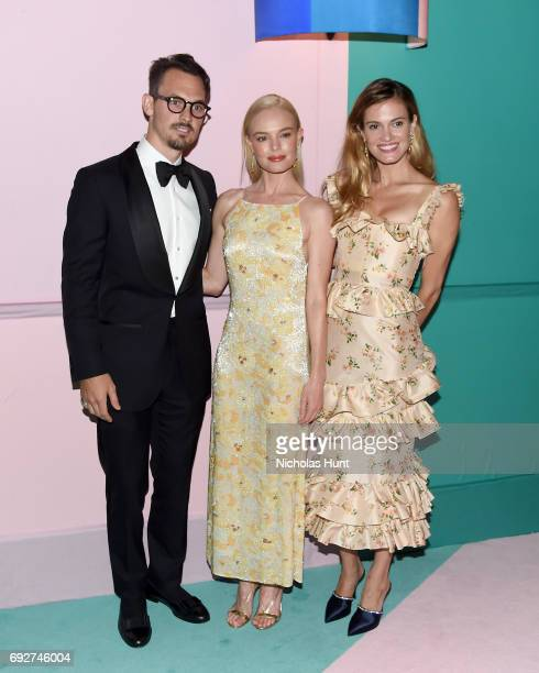 Kristopher Brock Kate Bosworth and Laura Vassar Brock attend the 2017 CFDA Fashion Awards Cocktail Hour at Hammerstein Ballroom on June 5 2017 in New...