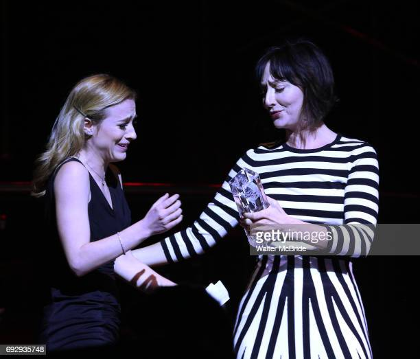 Kristy Altomare and Carmen Cusack on stage at the 73rd Annual Theatre World Awards at The Imperial Theatre on June 5 2017 in New York City