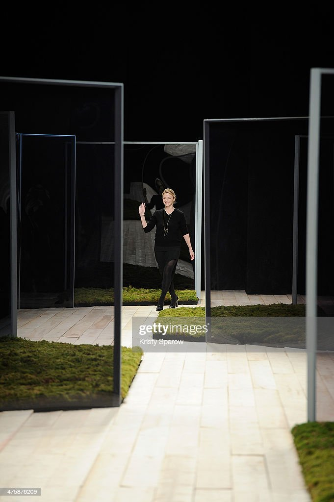 Kristy Caylor acknowledges the audience during the Maiyet show as part of Paris Fashion Week Womenswear Fall/Winter 2014-2015 on March 1, 2014 in Paris, France.