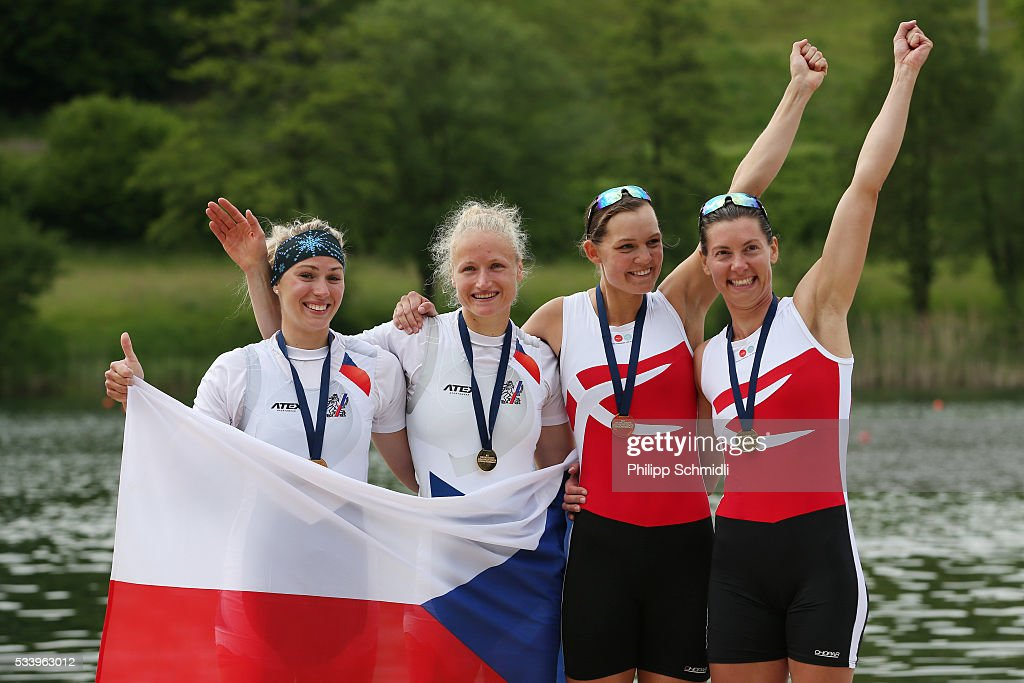 Kristyna Fleissnerova and Lenka Antosova of the Czech Republic and Nina Hollensen and Lisbet Jakobsen of Denmark celebrate after qualifying for the 2016 Summer Olympic Games in Rio during Day 3 of the 2016 FISA European And Final Olympic Qualification Regatta at Rotsee on May 24, 2016 in Lucerne, Switzerland.