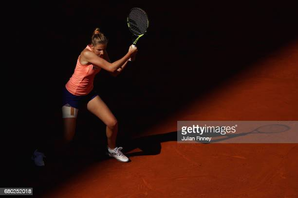 Kristyna Pliskova of Czech Republic in action against Simona Halep of Romania during day two of the Mutua Madrid Open tennis at La Caja Magica on May...